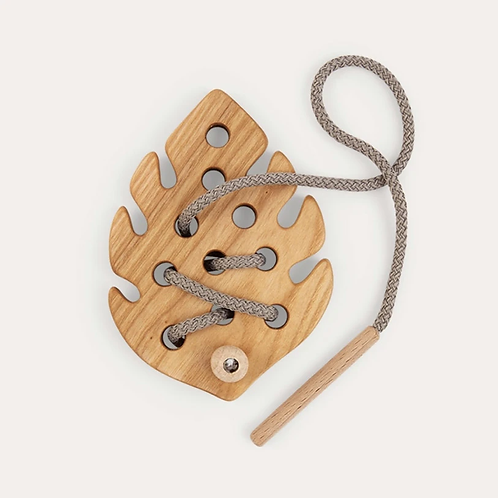 Monstera Leaf Wooden Lacing Toy