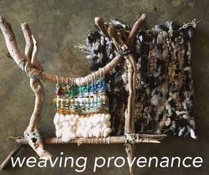 Weaving Provenance has been a hit.  This is a 2 day workshop.  On day 1, driftwood looms are constructed, and beach deteritus is collected.  On day 2, the looms are woven with yarn and collected materials to give a snapshot of place and time.  Photo by Brit Boles.