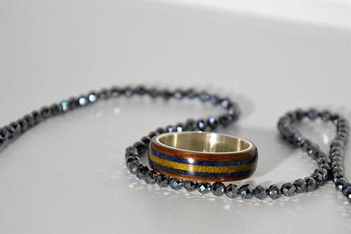 Bague en argent et bois avec incrustation Lapis Lazulite