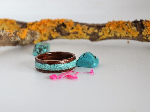 Été a la mer, Bague en bois et pierre, anneau en bois courbé avec Turquoise