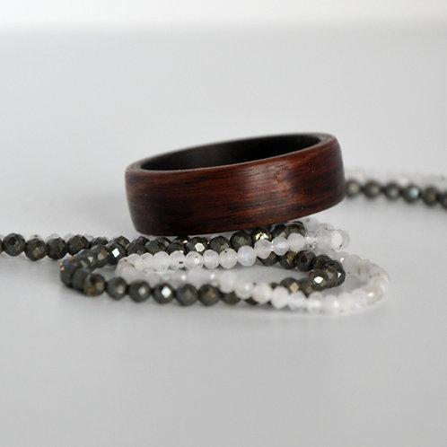 Bague en bois , alliance,  anneau en bois Palissandre  et Ebène