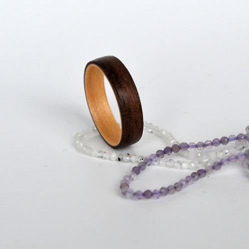 Bague en bois , alliance,  anneau en bois Noyer et Erable