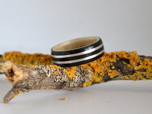 Bi-colore épais,Bague en bois courbé ébène et érable avec incrustation d'argent