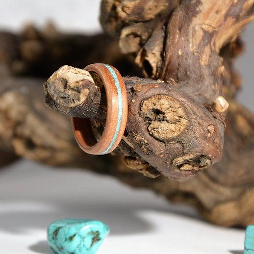 Bague en bois et pierre fine, alliance,  anneau en bois courbé avec de la  Turqu