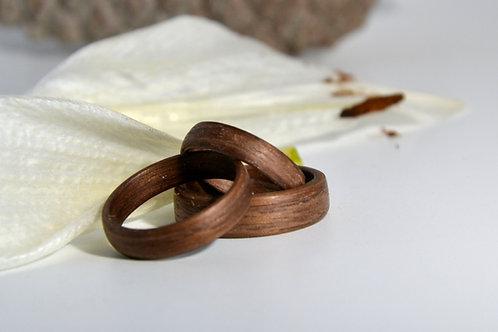 Bague en bois , alliance,  anneau en bois noyer