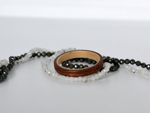 Bague en bois , alliance,  anneau en bois Acajou et Erable