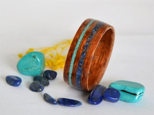 Bague en bois et pierre,anneau en bois courbé  avec Lapis Lazurite et Turquoise.