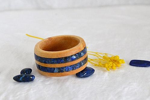Bague en bois et pierre, alliance,  anneau en bois  avec Lapis Lazurite