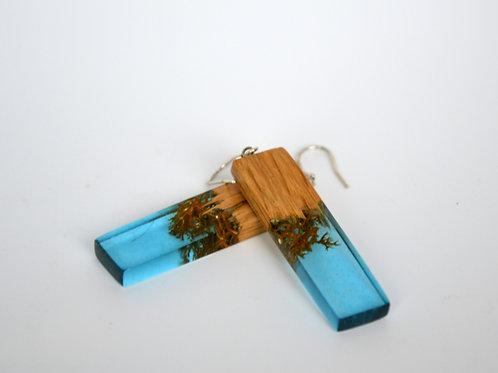 Boucles d'oreilles bleu avec des mousse et bois Chaine