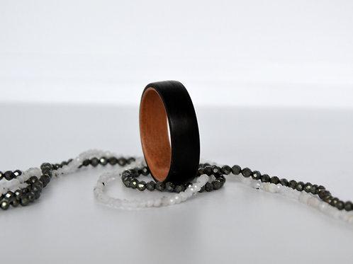 Bague en bois , alliance,  anneau en bois Ebène et Prunier