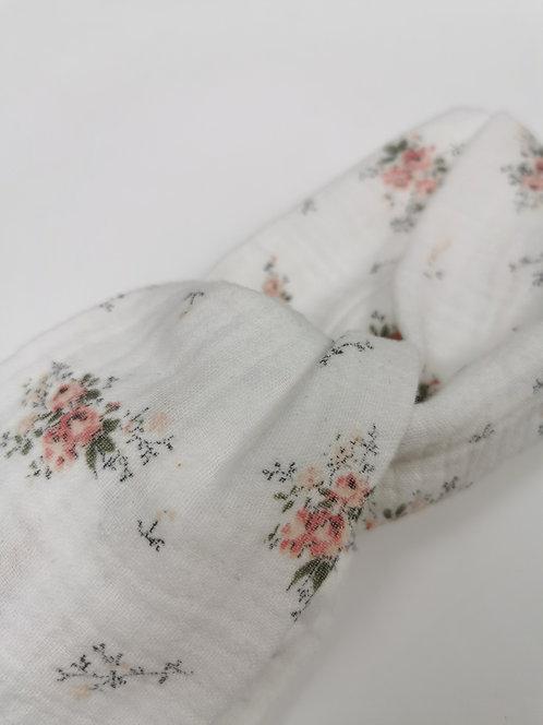 Bandeau Twist double gaze fleurie - taille femme