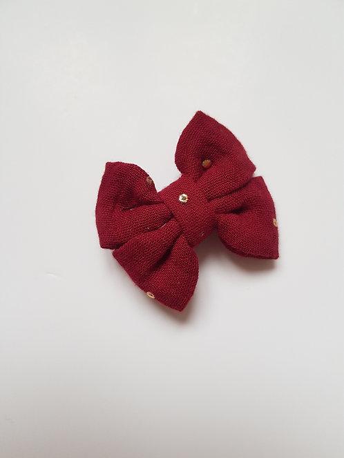Maxi noeud double gaze brique rouge pois doré