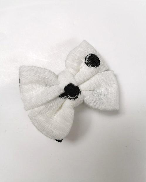 Barrette double gaze blanche pois noir
