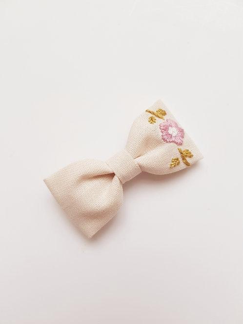 Collab AZBRODERIE - Barrette fleurs vieux rose