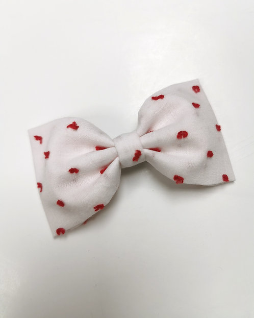 Maxi barrette plumetis rouge fond blanc