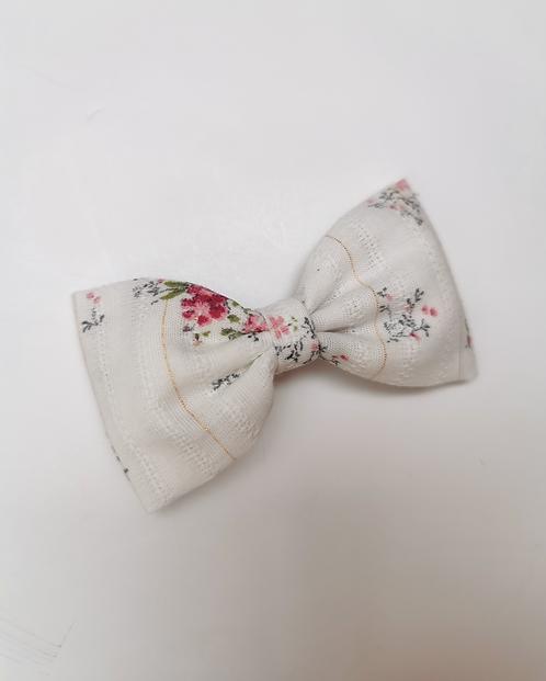 Maxi barrette fleurie lurex rose