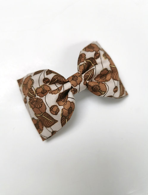 Maxi barrette fleurs marron