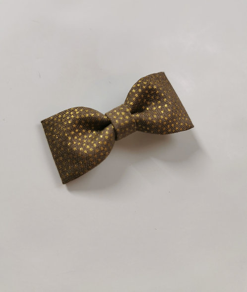 Barrette taupe pois or