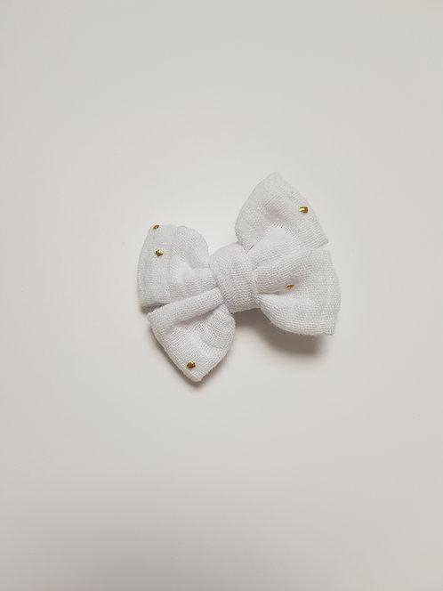 Maxi barrette double gaze blanche pois doré