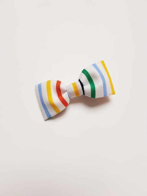 Barrette blanche rayée multicolores