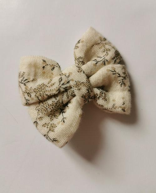 Maxi noeud double gaze de coton fleuri beige