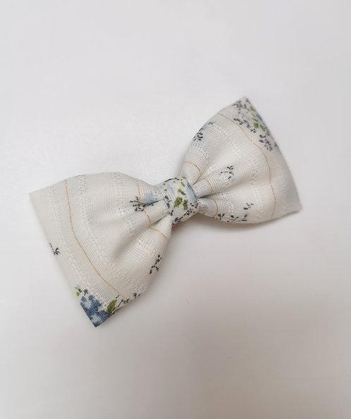 Maxi barrette fleurie lurex bleu