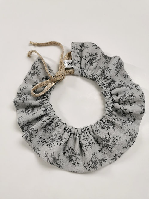 Col double gaze fleurie gris