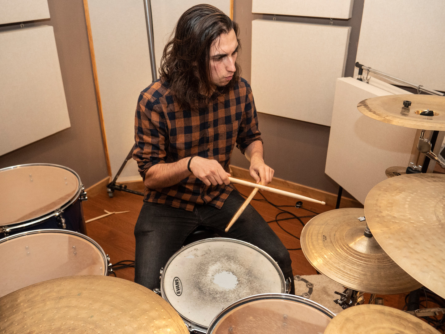 Alex Sanchez recording some drums tracks in Eldana studios