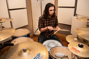 Alex Sanchez recording drums tracks in Eldana studios