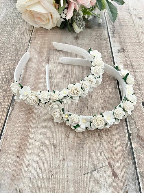 White & Ivory Mulberry Flower Headband