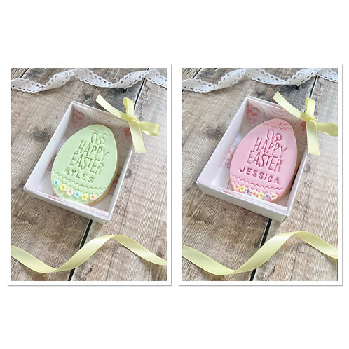 Easter Egg Personalised Boxed Biscuit