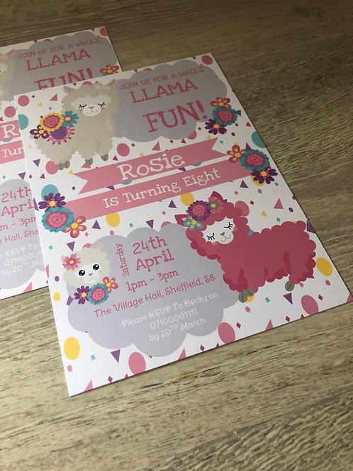 Llama Party Invitations