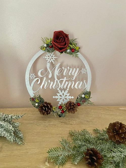 Merry Christmas Floral Festive Hoop