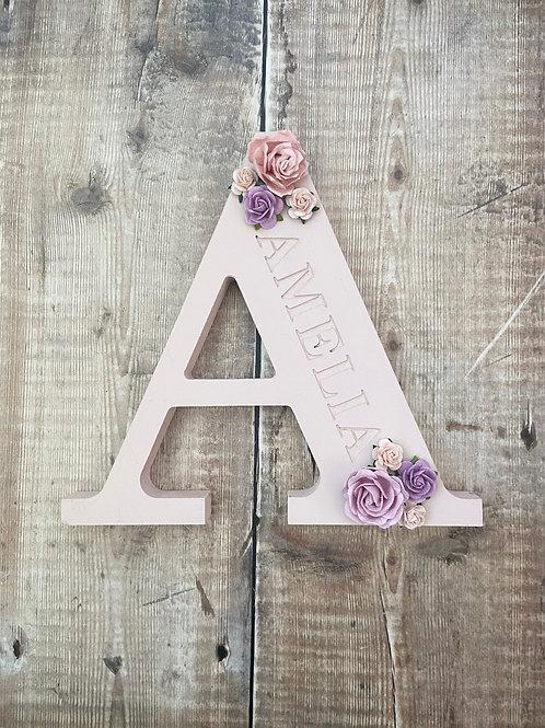 Engraved Freestanding Floral Letter