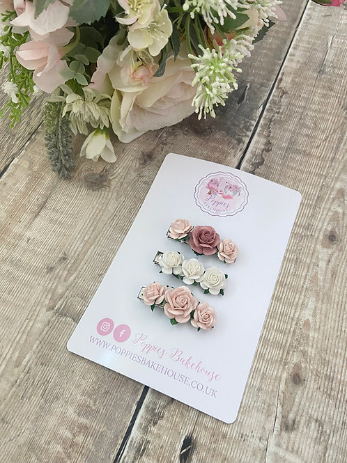 Pretty Pinks Mini Floral Bloom Fringe Hair Clips