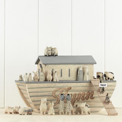Personalised Noah's Ark & Wooden Animal Set