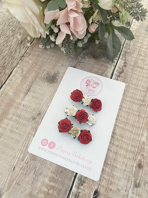 Christmas Reds Mini Floral Bloom Fringe Hair Clips