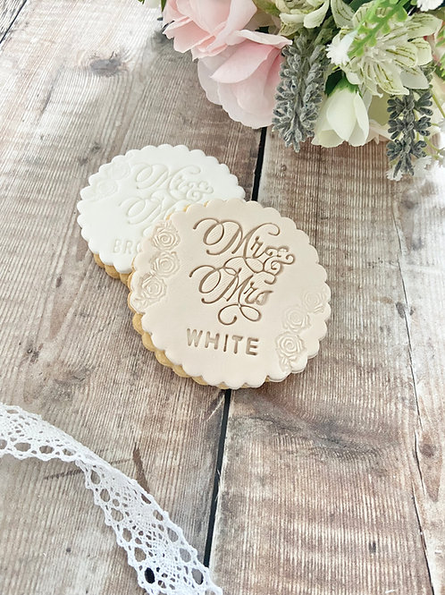 Mr & Mrs Rose Embossed Wedding Biscuits
