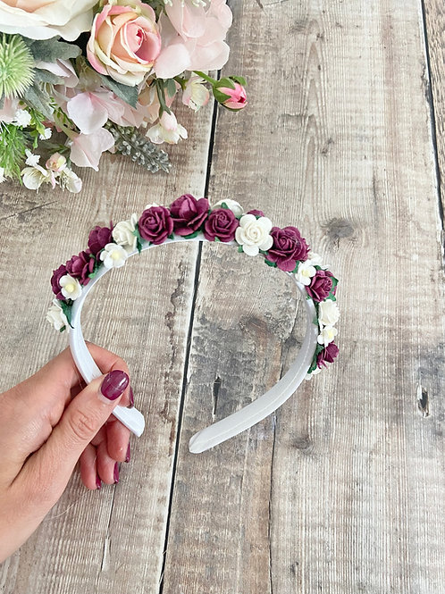 Burgundy Mulberry Flower Headband