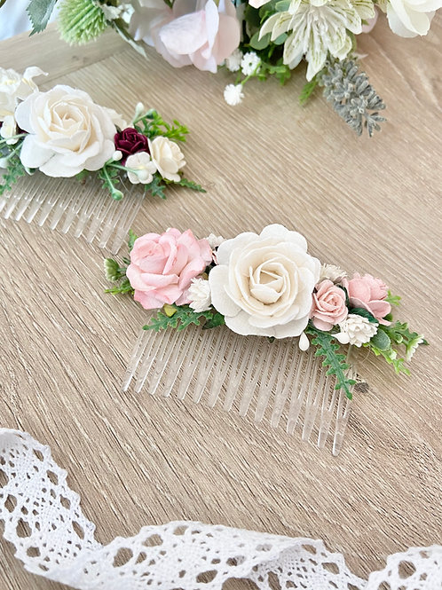 Blush Pink Mulberry Flower Hair Comb