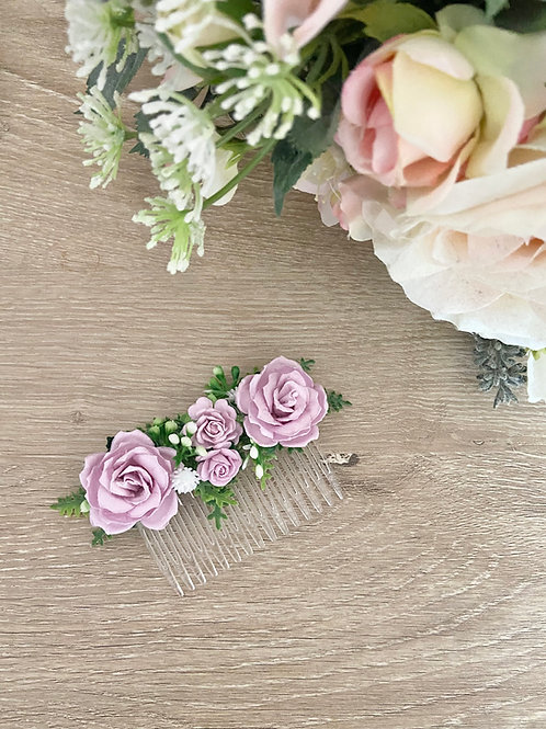 Lilac Mulberry Flower Hair Comb