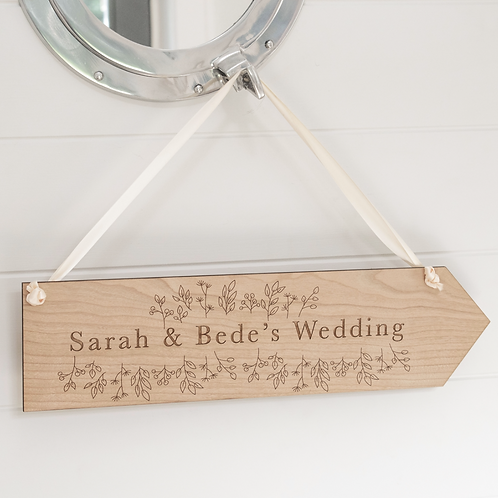 Floral Personalised Wooden Wedding Sign