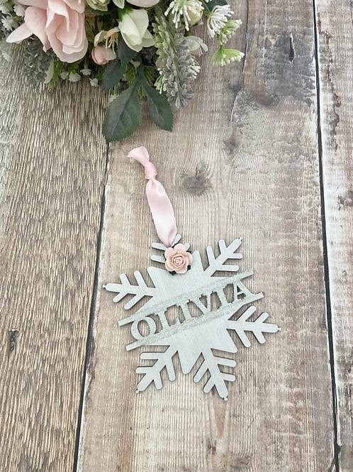 Winter Wonderland - Blush Snowflake Bauble