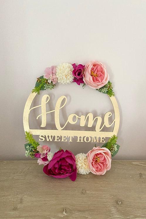 Home Sweet Home Floral Hoop