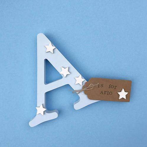 Wooden Baby Blue Freestanding Letter
