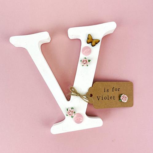 Wooden Butterfly Freestanding Letter