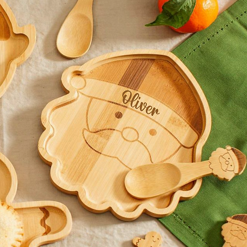 Santa Bamboo Plate & Spoon