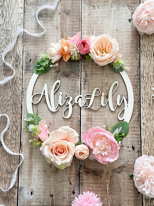Pinks & Peaches Floral Hoop