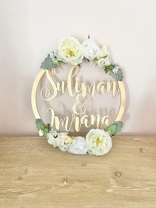 Wedding Sign Floral Hoop