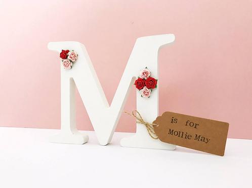 Wooden Floral Rose Freestanding Letter